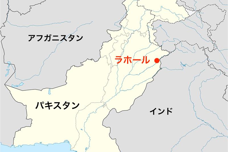 パキスタン東部の都市ラホールの位置(画像:NordNordWest)<br />