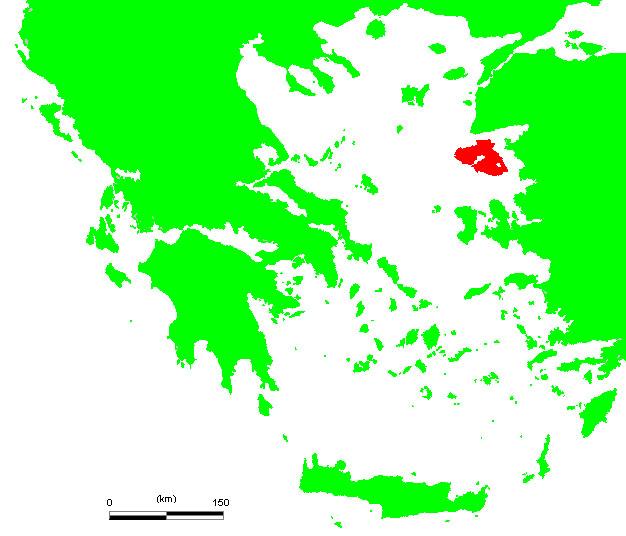 レスボス島の位置を示すエーゲ海の地図