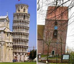 イタリアのピサの斜塔(左)とドイツ北西部の村ズールフーゼンにある教会の塔(右)