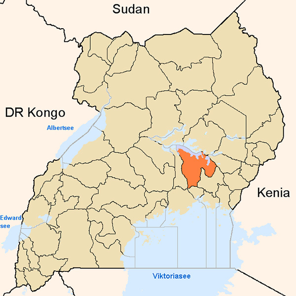 ウガンダにおけるカリム県(オレンジ色)の位置(図:Slomox)