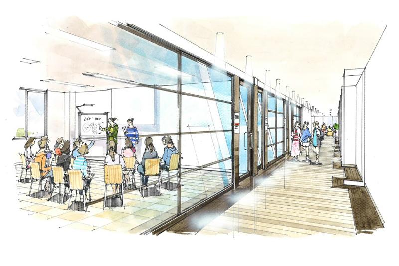 CLA棟の教室フロアイメージ(写真:フェリス女学院大学提供)