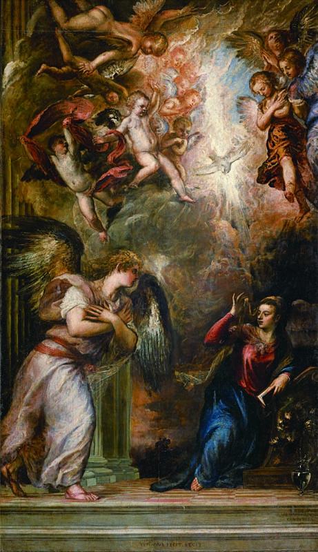 ティツィアーノ・ヴェチェッリオ「受胎告知」油彩 / カンヴァス サン・サルヴァドール聖堂所蔵