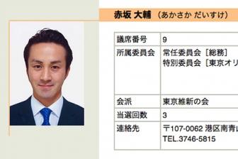 東京都港区の赤坂大輔区議を逮捕、タクシー運転手殴る 「腹が立った」