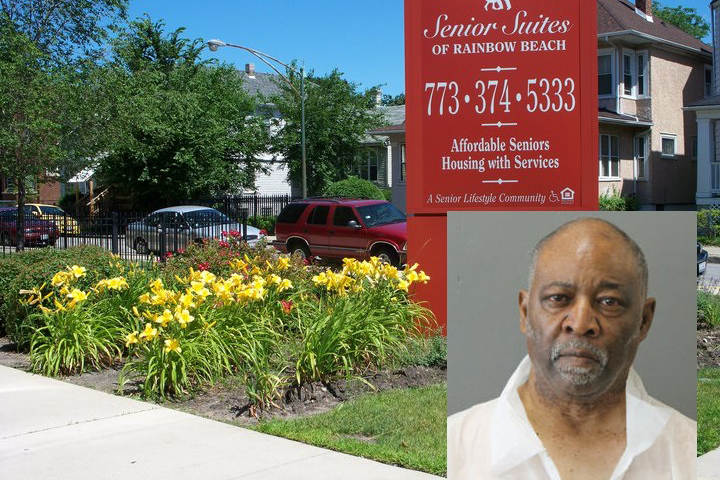 事件があった米シカゴの老人ホームの看板とテッド・マーチャント容疑者(写真:シカゴ警察)