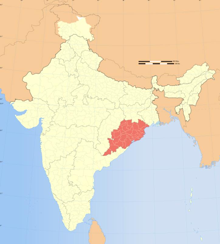 インド東部のオリッサ州の位置(画像:アント・アッカラ氏提供)