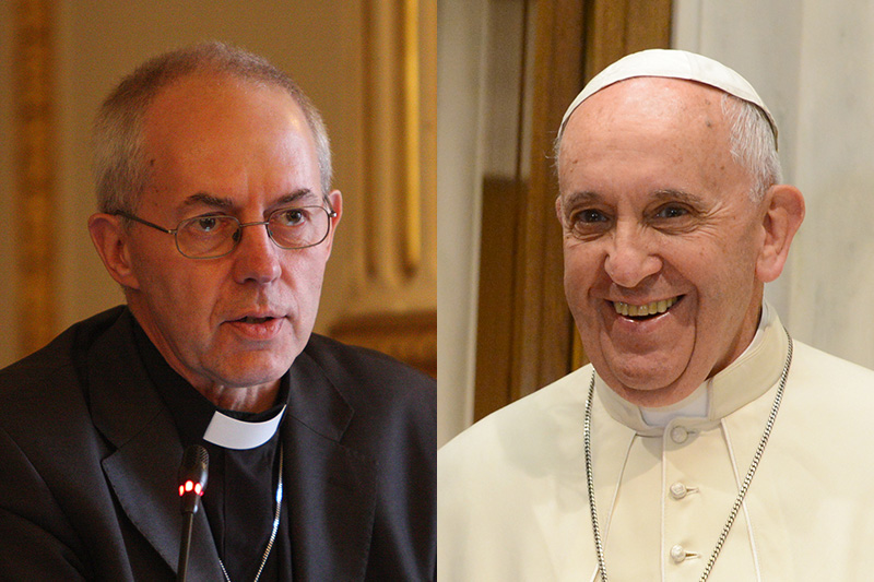 カンタベリー大主教ジャスティン・ウェルビー(左)とローマ教皇フランシスコ(写真:英外務省 / Casa Rosada)
