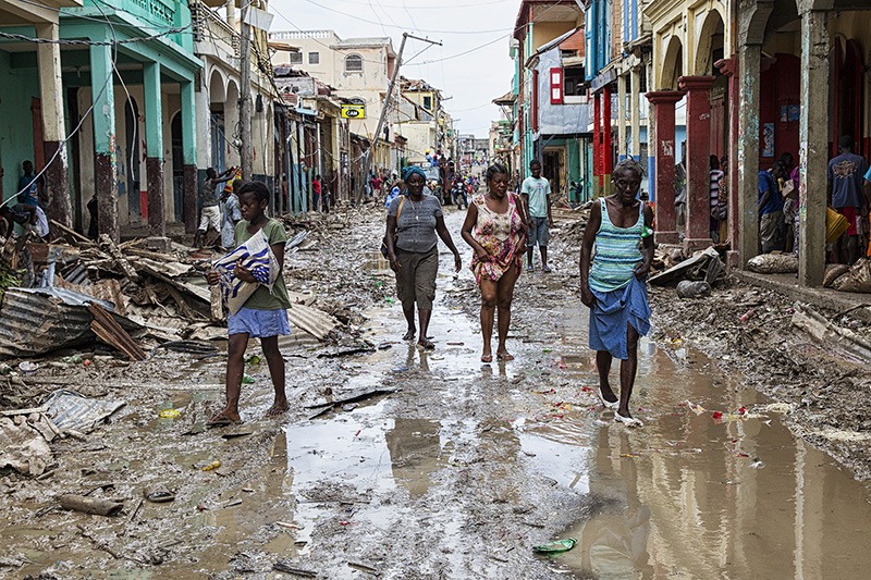 大型ハリケーン「マシュー」の被害に遭ったハイチ南西部の都市レカイの様子=10月4日(写真:UN Photo / Logan Abassi)