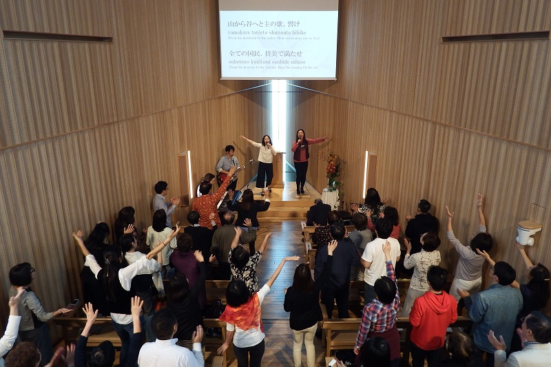 「ファイヤースクール」1日集中講座、2階席から見た様子=10月27日、21世紀キリスト教会(東京都渋谷区)で