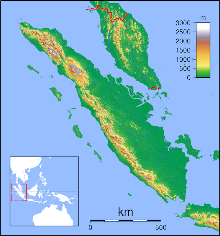 インドネシアのスマトラ島。震源地は北西部にある(画像:Karya sendiri)