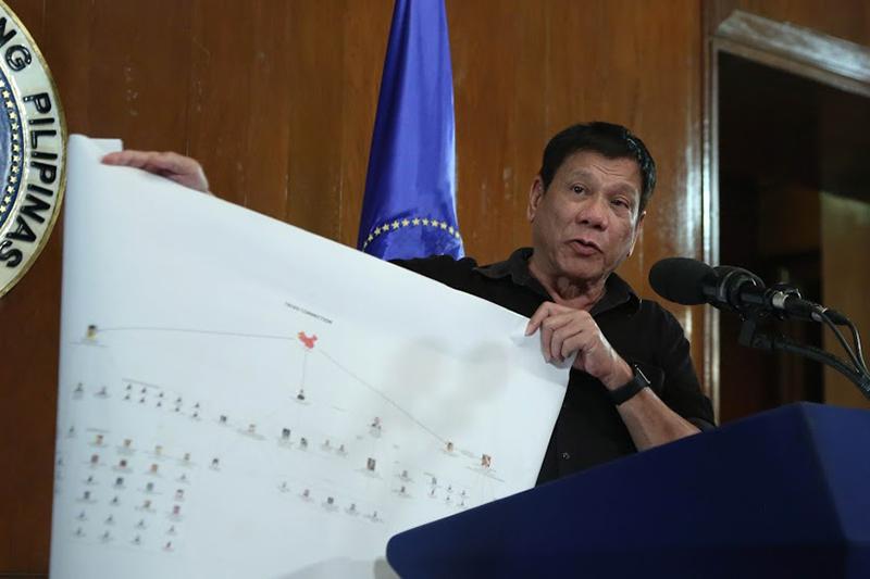 麻薬組織のネットワークを示したものだとする図を用いて説明するフィリピンのロドリゴ・ドゥテルテ大統領=7月7日(写真:フィリピン大統領府広報室)