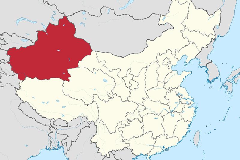 中国の新疆(しんきょう)ウイグル自治区の位置(図:TUBS)