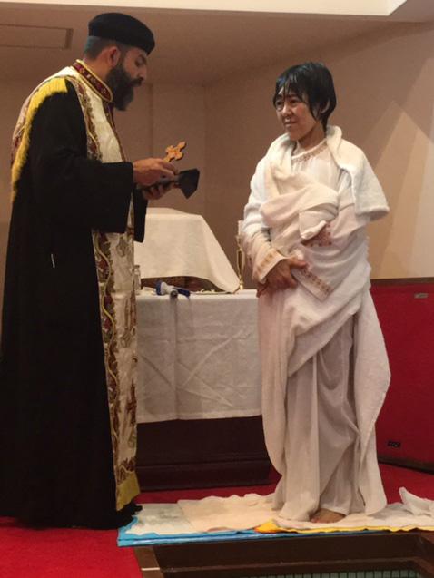 京都の聖マルコ・聖母マリア・コプト正教会で初の成人洗礼式