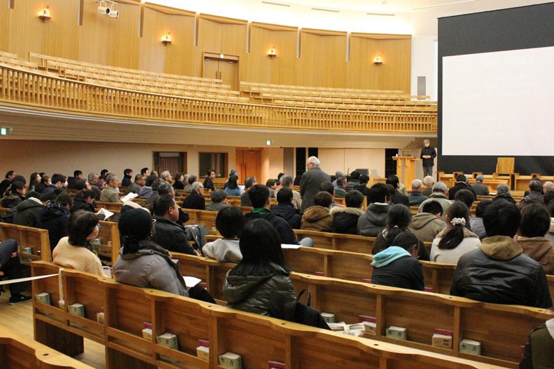 特別講演会に学内外から集まった参加者たち=18日、埼玉県上尾市の聖学院大学で