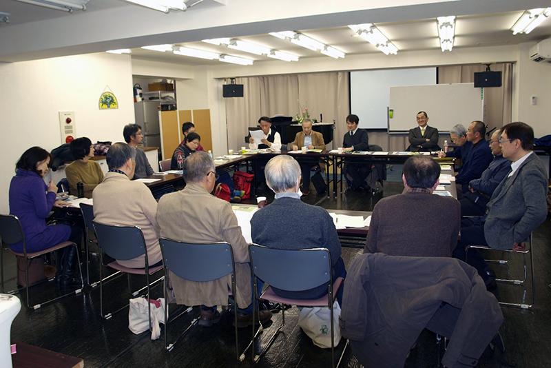 「教会防災ネットワークNHK」の会議=1月29日、東京キリスト宣教教会(東京都清瀬市)で