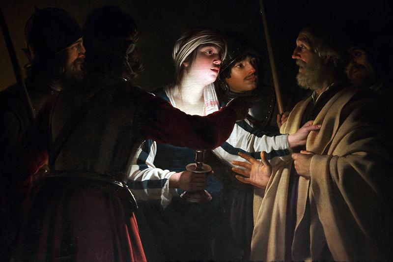 ホントホルスト作「ペトロの否認」(1620年頃)
