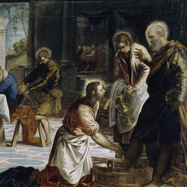 ティントレット「弟子の足を洗うキリスト」の一部(1547年)