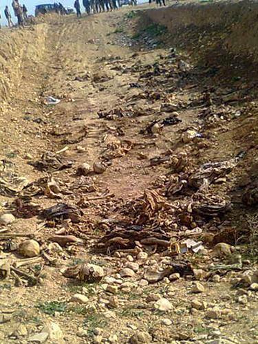 イラク北部のヤジディ教徒の町シンジャルで発見された遺体の埋葬地の1つ=2015年(写真:Ezidi Press)(写真:Ezidi Press)