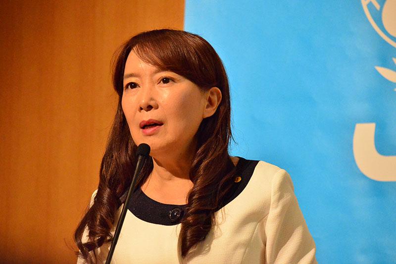 報告会を行ったアグネス大使=17日、ユニセフハウス(東京都港区)で