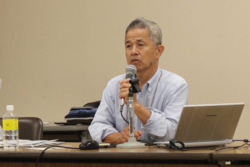 沖縄戦遺骨収集ボランティア「ガマフヤー」代表の具志堅隆松さん=12日、明治学院大学(東京都港区)で