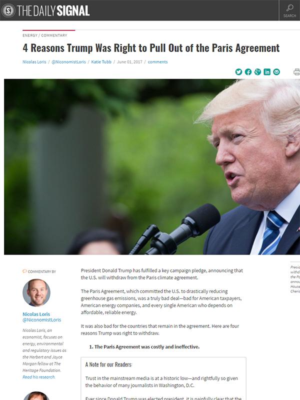 トランプ大統領を支持し、彼の決断のソースとなったウェブサイト「The Daily Signal」のスクリーンショット