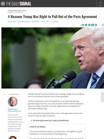 「パリ協定」破棄はトランプ大統領の暴挙?英断? 共和党保守派ヘリテージ財団の見解