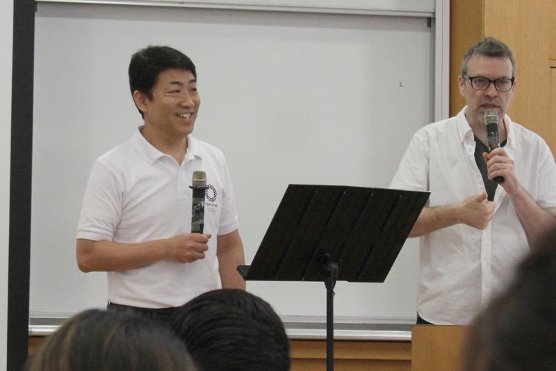 自身も大のスポーツ好きと明かすJiSP代表の米内宏明氏。メガ・スポーツイベントにおいて教会が持つ可能性について語った=26日、国立オリンピック記念青少年総合センター(東京都渋谷区)で