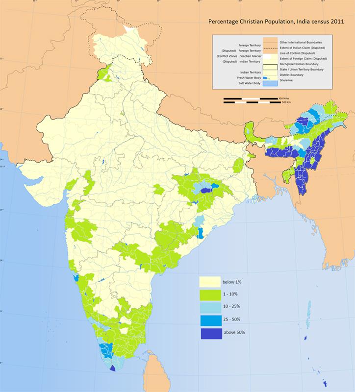 2011年の国勢調査に基づく、インドにおけるキリスト教徒の分布。北東部と南部に集中していることが分かる。(画像:Bhvintri)