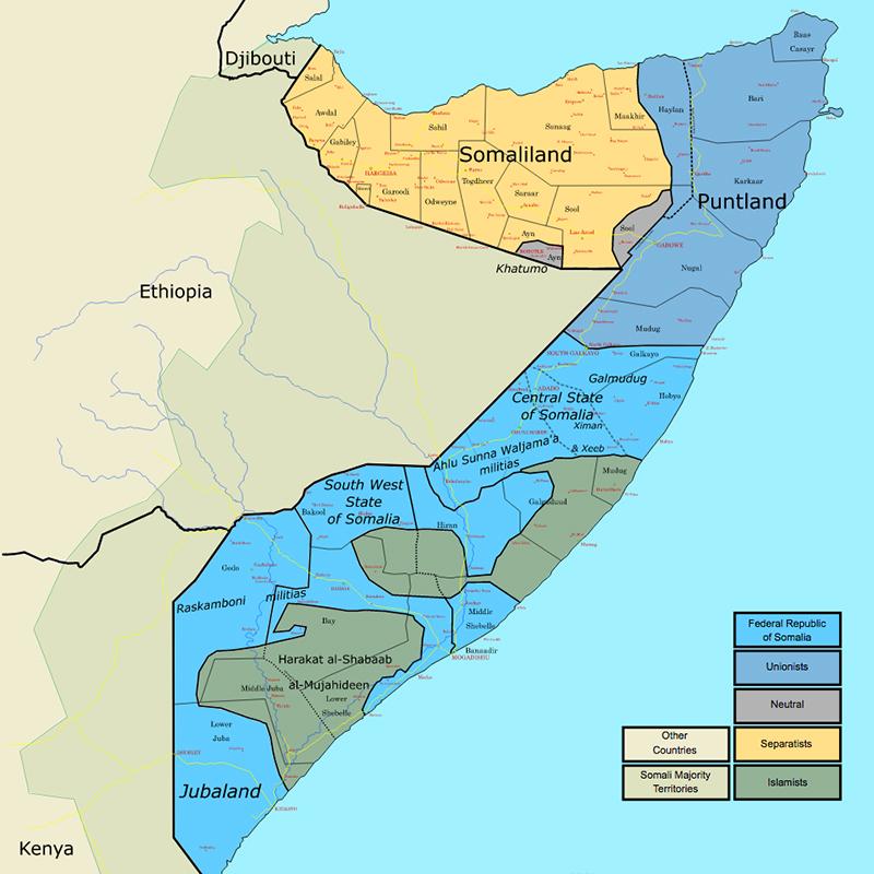 「アフリカの角」といわれるソマリアは、アフリカ東部に位置する国。現在は、ソマリア連邦共和国政府が統治する南部、1998年に自治宣言したプントランドの北東部、91年に独立宣言した旧英領のソマリランド共和国の北部に大きく3分割されている。