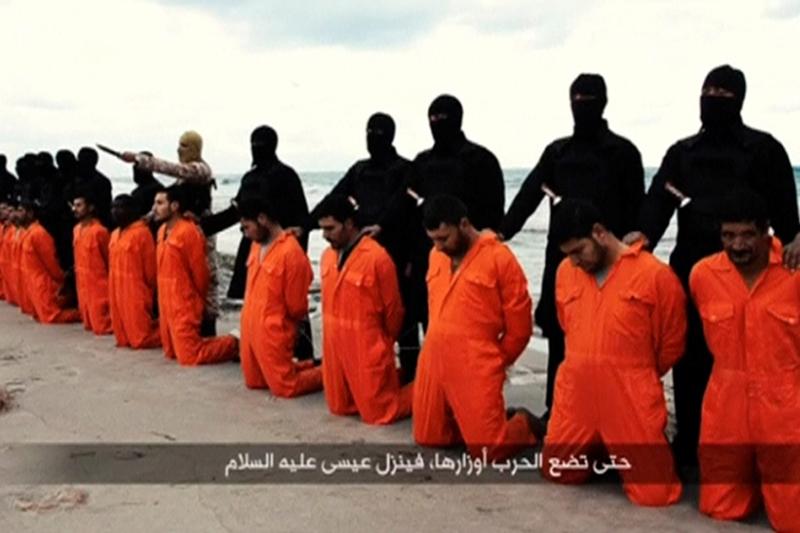 過激派組織「イスラム国」(IS)が2015年2月15日に公開した動画