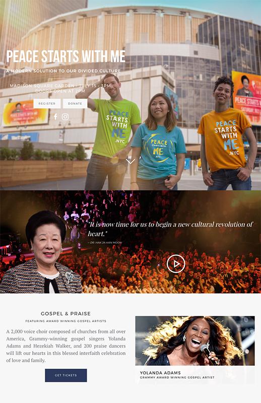 15日に開かれるイベント用のサイト。統一協会の創始者である文鮮明(1920~2012)の妻で統一協会総裁の韓鶴子(ハン・ハクチャ)は、顔写真付きで紹介されているが、統一協会を示す表記はサイトのトップページ内には見当たらない。