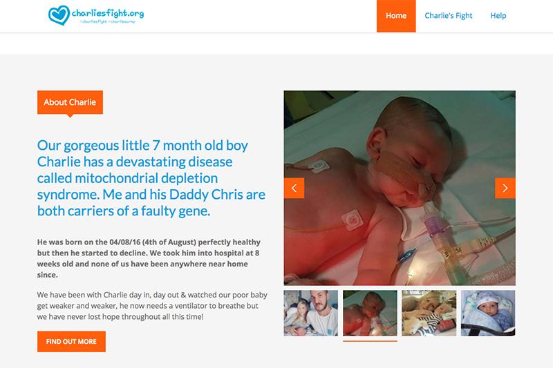 チャーリー・ガードちゃんのために両親が立ち上げたサイト「charliesfight.org」。写真で大きく映っているのは延命装置を付けたチャーリーちゃん。