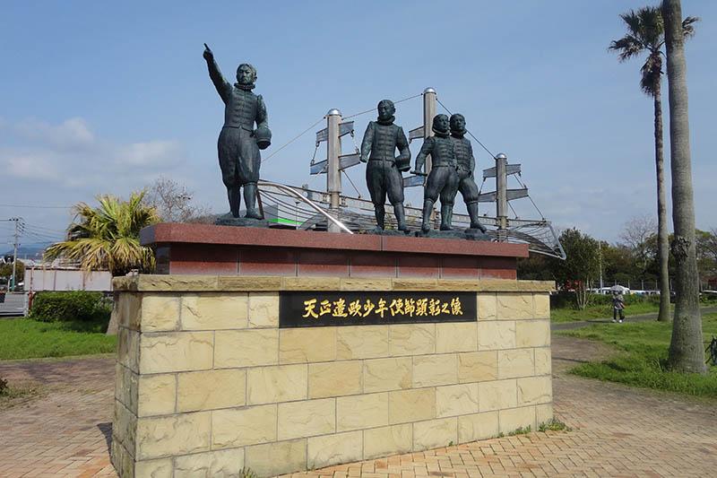 大村市の森園公園にある「天正遣欧少年使節顕彰之像」