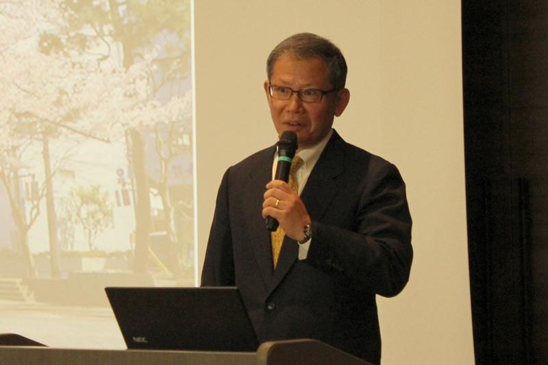 聖書キリスト教会牧師の尾山清仁氏=7日、ココネリホール(東京都練馬区)で