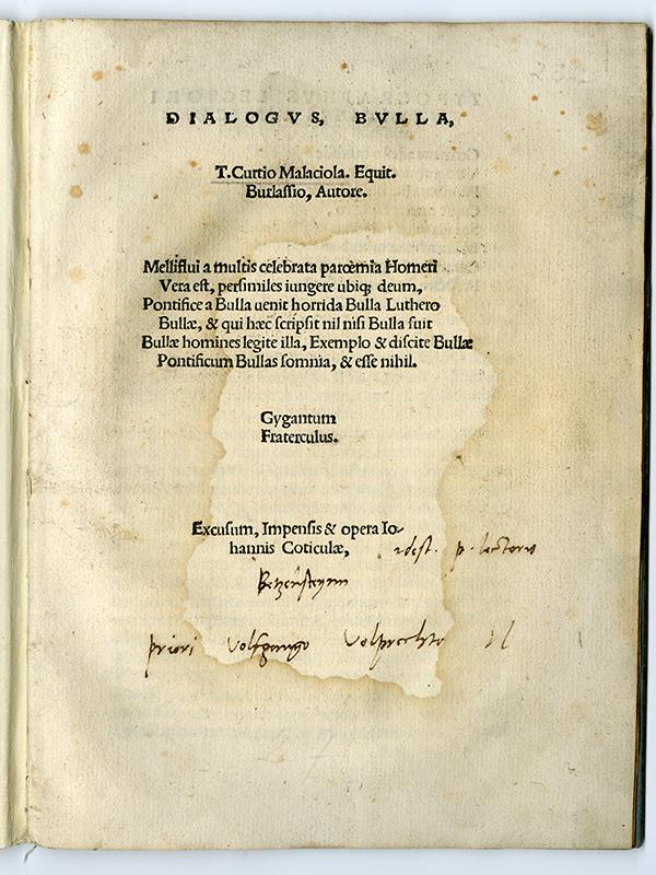中央下に書かれている手書きの3行が、マルティン・ルターによる自筆の文だという。(画像:エモリー大学)