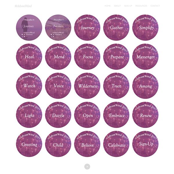 インターネット上のアドベントカレンダー「アドベントワード」。共通のハッシュタグを付けてSNS上に投稿することで、それぞれの祈りや黙想が集まる仕組みになっている。