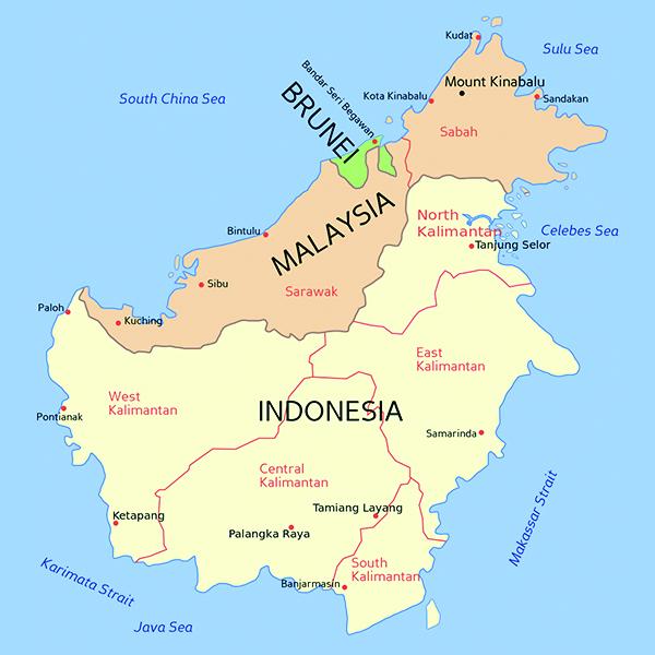 3国が領土を分け合うボルネオ島。南部がインドネシア領、北部がマレーシア領で、マレーシア領に挟まれる形でブルネイがある。(画像:Mortadelo2005)