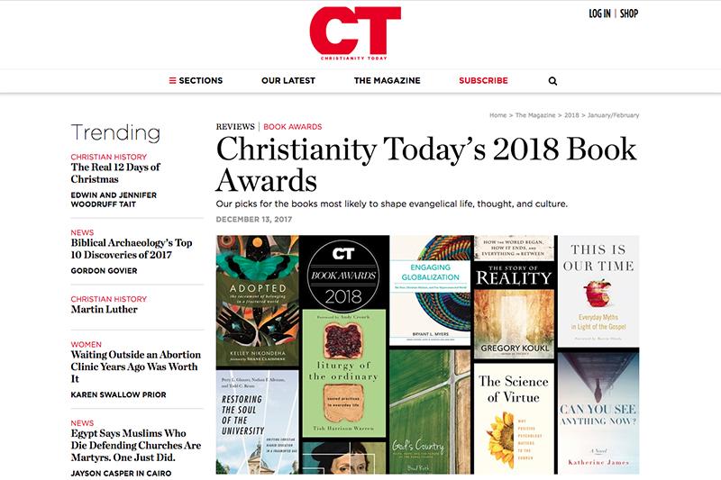 2018年の「ブック・アワード」を発表する米福音派の代表誌「クリスチャニティー・トゥデイ」のページ