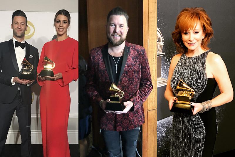 左から、ヒルソング・ワーシップのベン・フィーディングとブルック・リガートウッド、ザック・ウィリアムズ、リーバ・マッキンタイア(写真:それぞれのツイッターより)