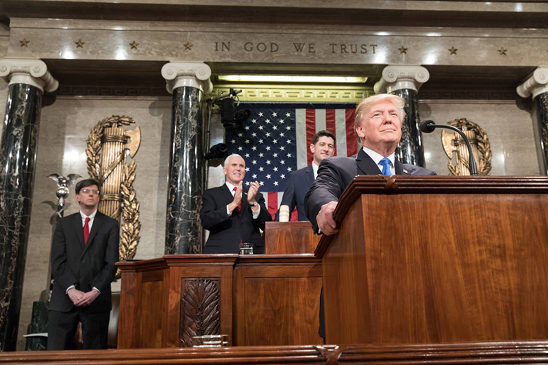 米連邦議会で一般教書演説をするドナルド・トランプ大統領=1月31日(写真:ホワイトハウス / Shealah Craighead)