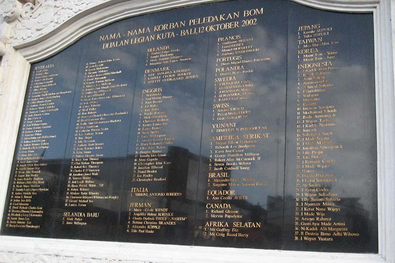 2002年10月に、インドネシア・バリ島南部で発生した爆弾テロ事件の犠牲者名簿。事件では、繁華街の路上に止められていた自動車爆弾が爆発し、外国人観光客を含む約200人が死亡した。(写真:Masgatotkaca)