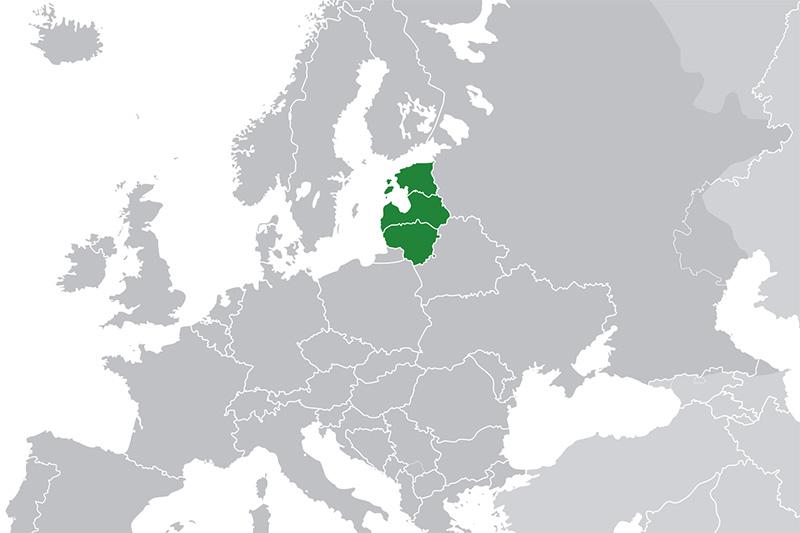 バルト3国の位置(緑)。北からエストニア、ラトビア、リトアニア。(写真:Hayden120)