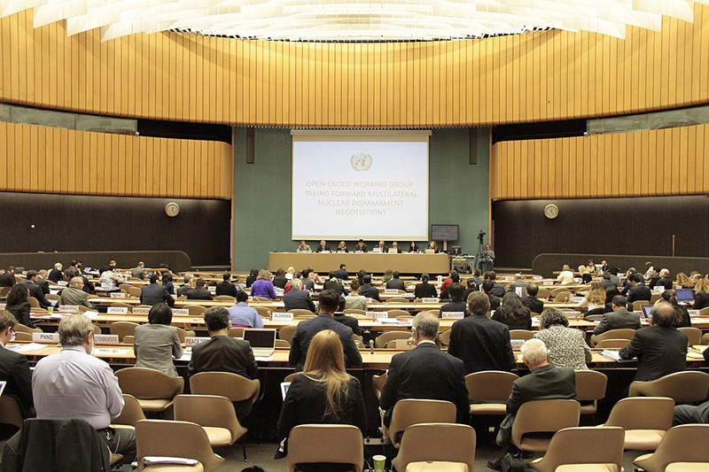 スイス・ジュネーブの国連事務所で、核兵器廃絶をめぐって開かれた各国の政府関係者による会議=2016年5月12日(写真:核兵器廃絶国際キャンペーン〔ICAN〕オーストラリア)<br />