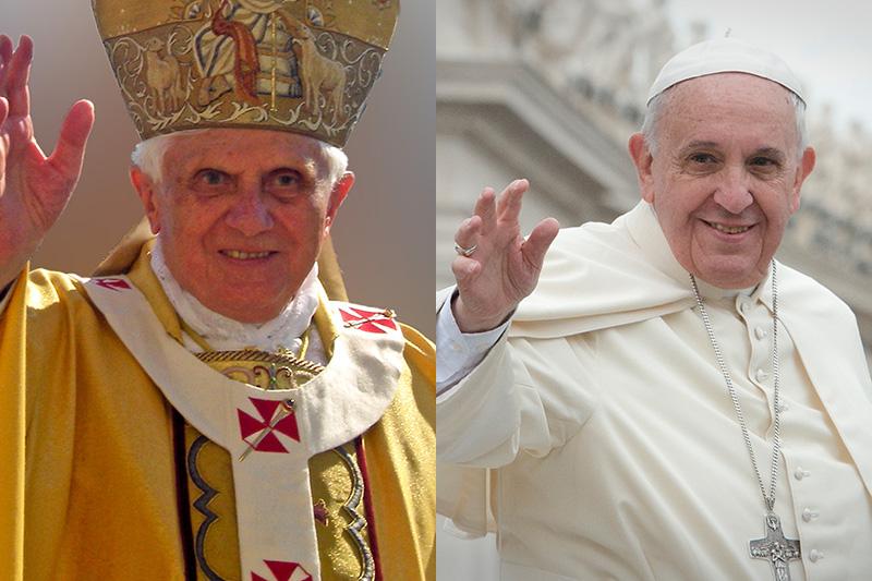 前教皇ベネディクト16世、現教皇...