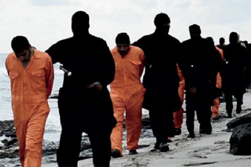 過激派組織「イスラム国」(IS)が2015年2月15日に公開した動画<br />