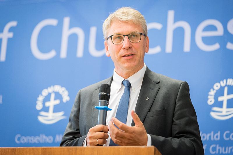 世界教会協議会(WCC)のオラフ・フィクセ・トヴェイト総幹事(写真:Albin Hillert/WCC)<br />