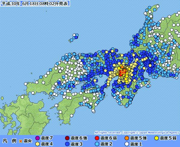 震度1以上を観測した地点=18日午前8時2分発表(図:気象庁)<br />