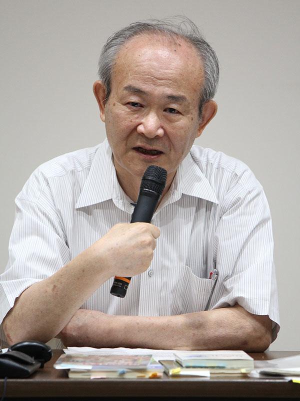 講演する佐々木宏人氏=1日、真生会館(東京・信濃町)で
