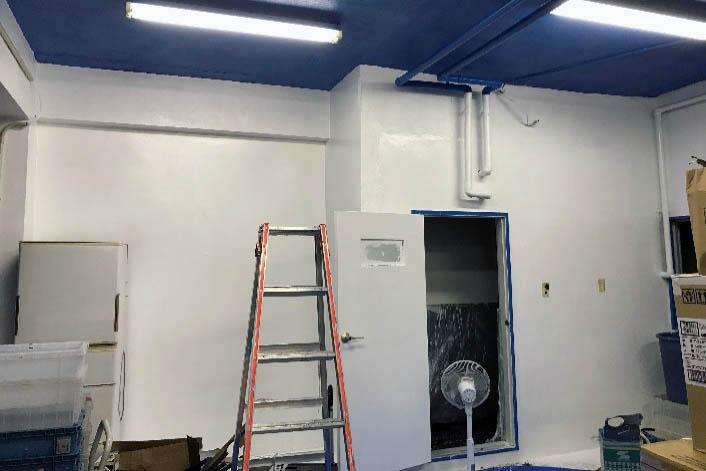 当事者スタッフの手によって青と白のペンキできれいに塗装された天井と壁