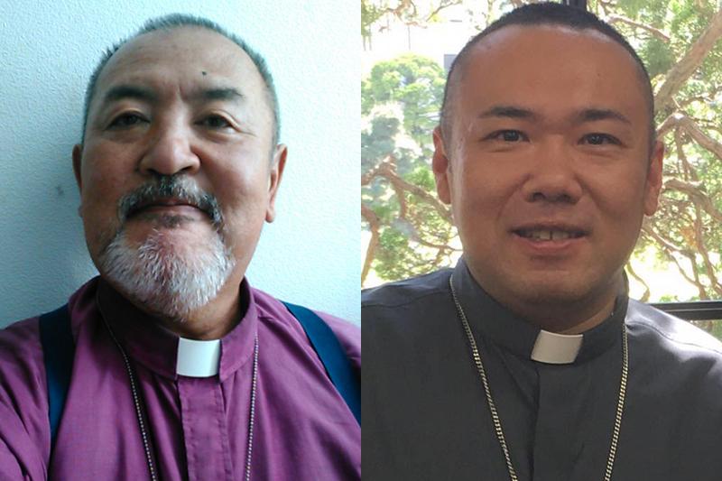 Worldwide Anglican Church(WAC)の主教に任命されたディアコニア教会主任牧師のテトス山口光司祭(左)と、同教会助任牧師のミカエル河口哲也司祭