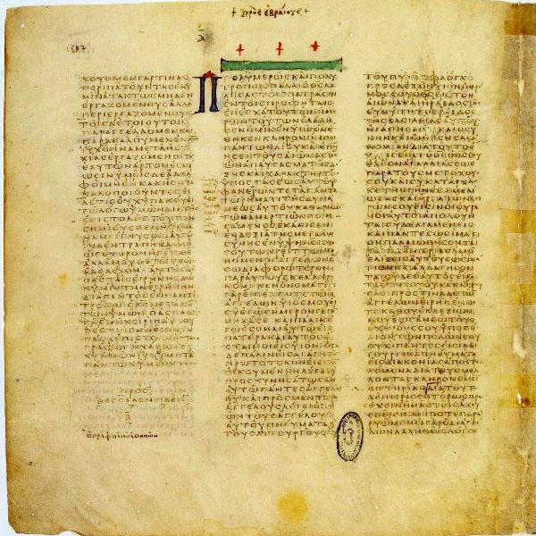 三大ギリシャ語写本の一つである「バチカン写本」。写真の写本には、テサロニケの信徒への手紙二3章11~18節(左)、ヘブライ人への手紙1章1節~2章2節(中、右)が書かれている。